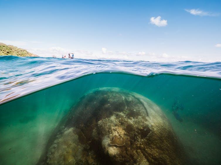 коралловая скала под водой с небом